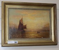 George Stainton, oil on canvas, Coastal scene at sunset, signed, 24 x 34cm