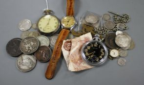 An Omega pocket watch, a Waltham military pocket watch, Benson Tropical wrist watch and assorted