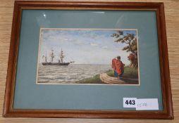 """South American, watercolour, """"H.M.S. Gannet 3 Guns"""" c.1860, 14 x 23cm"""
