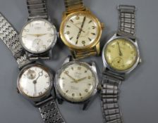 Four gentlemans' steel cased wristwatches and a gold plated Rodania wristwatch