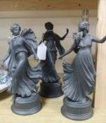 A set of three Wedgwood Signature Collection limited edition black porcelain figures of