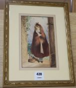 Miss Mary Jane Tomalin (19th C) watercolour, Girl at a cottage doorway, signed, 23 x 15cm