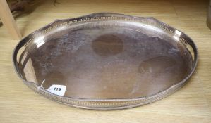 A plated oval galleried tray