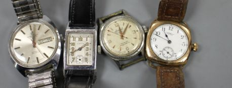 Four assorted steel / gold plated wristwatches, Waltham (2), Accurist, Astin