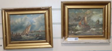A. Hess, pair of oils on board, Shipping off the coast, signed, 19 x 24cm