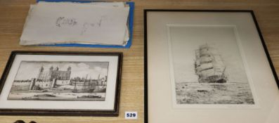 Rowland Langmaid, etching, The Cutty Sark, signed in pencil, 30 x 20cm and sundry unframed prints