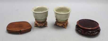 Two Chinese Longquan celadon cups, Yuan-Ming Dynasty