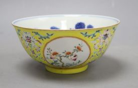 A Chinese yellow ground enamelled bowl, Daoguang mark, diameter 15cmCONDITION: General minor wear to