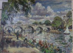 Llewellyn Petley Jones (1908-1986), oil on canvas, Summer day, Richmond Bridge, signed and dated