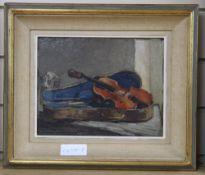 20th century Continental School, oil on board, Still life of a violin, 20 x 25cm