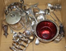 Assorted plated flatware including a sugar basket, a toastrack, condiments etc.