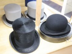 Five men's hats, including a bowler by Lock & Co, a folding top hat by Tress & Co (boxed) and