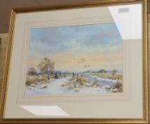 Brian C. Day, watercolour, Snow on the marsh, signed, 24 x 35cm