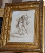 19th century stipple engraving after Bartolozzi, Cupid and Psyche, 23 x 17cm