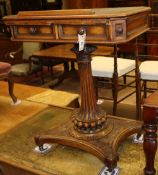 A Victorian carved walnut writing-cum-reading table, W.64cm, D.48cm, H.77cmCONDITION: The leather
