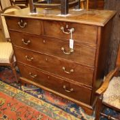 A George III chest of four long drawers, W.100cm, D.44cm, H.94cmCONDITION: The top has several