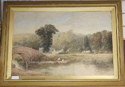 Albert Edward Bowers (fl.1875-1893), watercolour, 'Near Littlehampton'