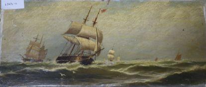 John Davidson Liddell (1859-1942), oil on canvas, Shipping at sea, signed, 21 x 46cm, unframed