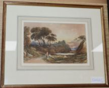 John Varley (1778-1842), watercolour, Travellers and castle in a landscape, signed and dated 1839,