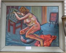 Modern British, oil on board, Seated female nude, 38 x 50cm