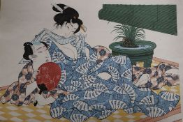 A later copy of a Japanese print by Eisen, of a reclining couple, 28 x 40cm, unframed