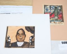 Boris Jasikoff, ink and watercolour, 'The Actor', 10 x 12cm and another watercolour sketch with