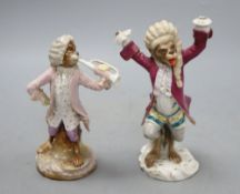 Two German porcelain monkey band figures, height 15cm (a.f.)