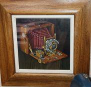 James McDonald (Scottish b. 1956), 'Camera', signed, acrylic on board, label verso, Cyril Gerber