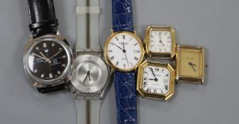 Six assorted wrist watches including Raymond Weil and Roamer.