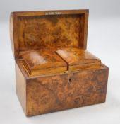 A Victorian burr walnut caddy, length 23cm