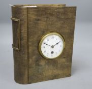 A French novelty bronze book-shaped clock, height 29cm