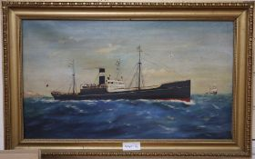 English School, oil on canvas, Portrait of the steamer Tanfield, 34 x 60cm