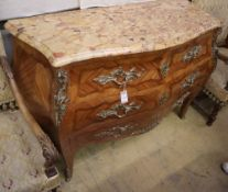 A Louis XV style parquetry marble top serpentine bombe commode, W.128cm, D.52cm, H.92cmCONDITION: