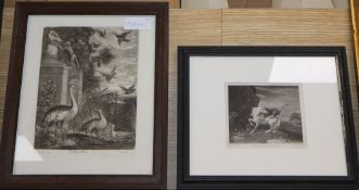 Smith after Barlow, mezzotint, The King's Burds (sic), 23 x 18cm and another after Stubbs, Horse