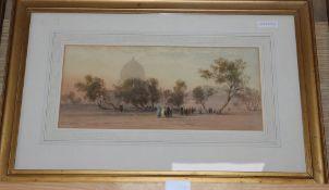 John Varley (1850-1933), watercolour, 'Al Abbaseu', signed, 16 x 37cm