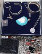 A group of assorted modern 925 and white metal jewellery, including necklaces, earrings, brooches
