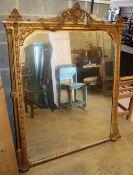 A Victorian gilt gesso overmantel, W.122cm, H.150cm