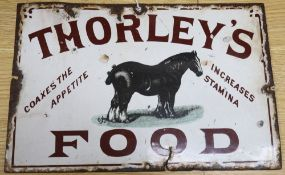 A 'Thorleys Food' enamel sign, 20 x 31cm