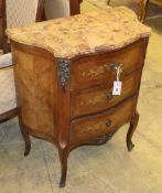 A French marquetry inlaid three drawer serpentine marble top chest, W.68cm, D.37cm, H.78cm