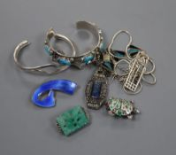 A Norwegian sterling and enamel scroll brooch, 45mm and other jewellery including sterling and