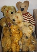 Six vintage bears 1950-1960 including Chad Valley, Wendy Boston
