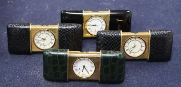 Four Nepro gilt metal cased purse alarm watches, with easel backs, each 56mm., three with leather