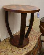 An Art Deco style figured walnut circular two tier occasional table, 55cm diameter, H.60cm