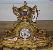 A late 19th / early 20th century French gilt metal and enamel mantel clock, height 36cm