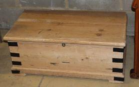 A Victorian metal bound pine trunk, W.81cm, D.44cm, H.34cm