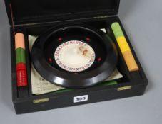 A cased roulette set