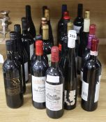 A group of assorted wines etc