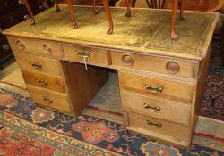 A Victorian and later pine pedestal desk, W.150cm, D.68cm, H.79cm