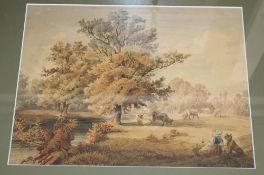 Francis Wheatley (1747-1801), watercolour, Woman and cattle in a landscape, signed and dated 1799,