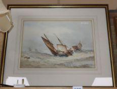 Frederick James Aldridge (1850-1933), watercolour, Shipping at sea, signed, 26 x 37cm